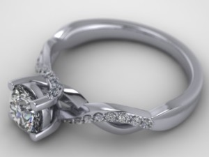 Diamond accent graceful flow up the prongs of the engagement ring.