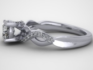 Side view of twisted engagement ring.